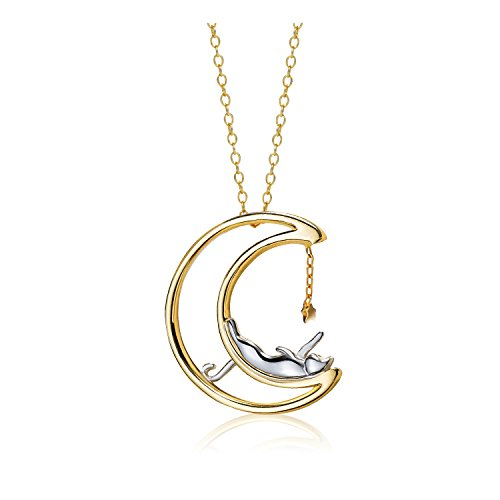 Meow Star Cat Necklace Sterling Silver Moon Cat Pendant Charm Necklaces for Women (Polish)