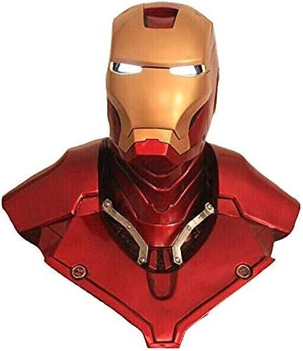 Byx- Iron Man Helm - (lebende Größe) 1  1 Größe Statue LED Eye kann beleuchtet Werden - Harzmaterial @