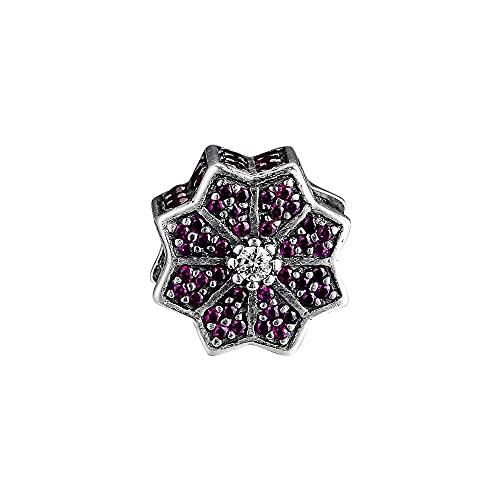 925 Plata Pandora Poinsettia Charm Bead Rojo Claro Pulseras Originales Cuentas De Mujer Para Hacer Joyas De Lujo Para Mujer