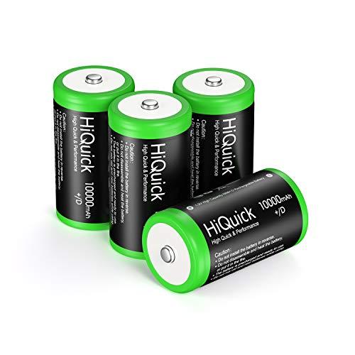 HiQuick 単1形充電池 充電式ニッケル水素電池 高容量10000mAh 単1電池 4本入り ケース2個付き 約1200回使用可能 大容量モデル 単一充電池セット