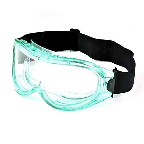 SAFEYEAR Gafas de seguridad-SG007GN [Certificación EN166] Super Lentes Gafas de seguridad antiniebla Protección UV Gafas antiarañazos (Normal, Green)