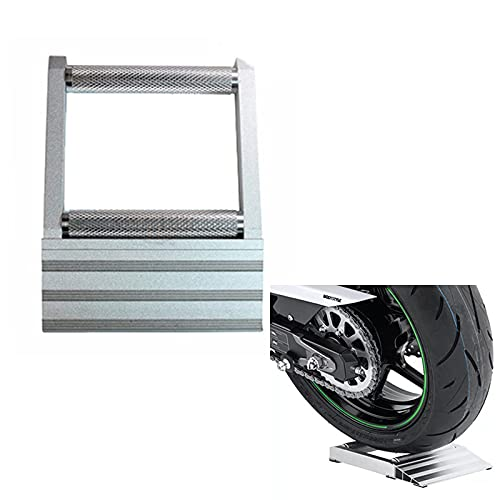 HAIHAOYF Soporte de Limpieza de la Cadena de la Motocicleta de Aluminio, neumático portátil Moto Rueda Rueda Limpia lubricación Estante Duradera Rodillos rampa elevación (Color : Silver)