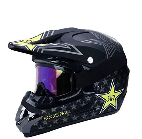 Cascos de motocicleta, casco de MTB de cara completa con gafas de máscara, casco de motocross para adultos y niños, casco de motocicleta BMX ATV Scooter, certificación DOT (XL)