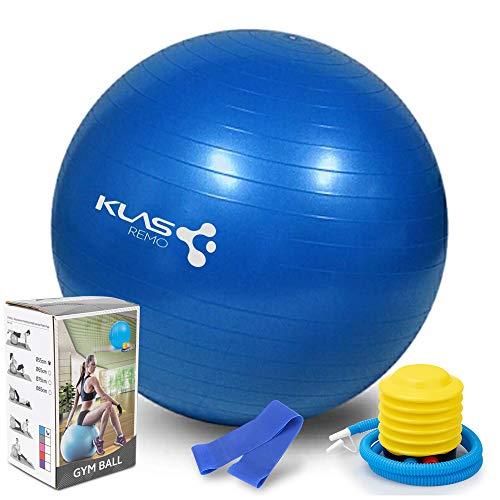 KLAS REMO Palla da Ginnastica, Palla Fitness Anti-Scoppio 55cm Carico Massimo di 450kg...