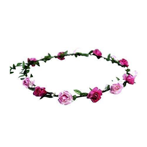 zaza femmes fleur floral FESTIVAL Cheveux Mariage Guirlande fleur couronne serre-tête 9 couleurs - dark&light Rose, Taille unique, One size