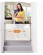 Dreambaby® (0 – 140 cm) – intrekbaar/oprolbaar deur- en trapbeschermingsrooster voor baby's en huisdieren. Extra hoog, verstelbaar, geschikt voor binnen en buiten. 2019 versie.