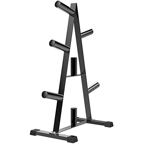 Popamazing Olympic Weight Plate Tree Rack Bumper Plate Stand Storage 2'' Round Tubes 7 Bar Holder