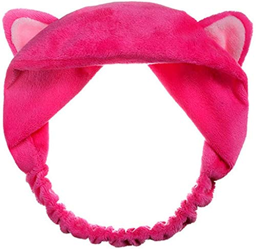 Sgualie Headband Hair Wear Makeup Shower Face Wash Hairband, Rose-Red, One Size