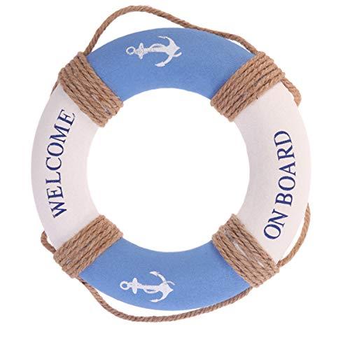 Amosfun 2 Deko Rettungsring Maritime Deko Zum Aufhängen Wanddeko Willkommen Tuch Wanddeko Rustikalen Nautischen Für Zuhause Shop Bar Wand Tür 30 cm (Blauer Eisenanker)