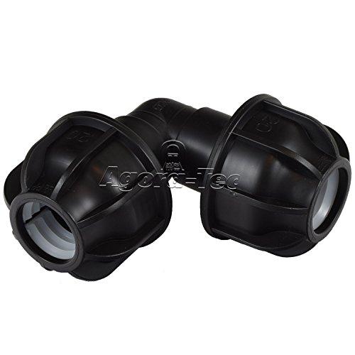 Agora-Tec® PE-Fitting Winkel 90 Grad 20mm auf 20 mm für PE-Rohr 20mm SCHWARZ