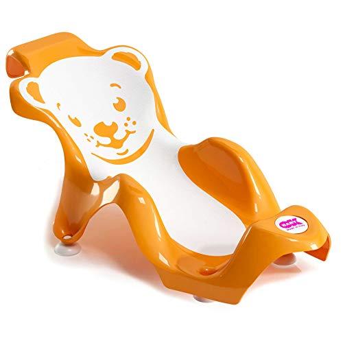 OKBABY Buddy - Transat Anatomique avec Assise en Gomme Anti-dérapante pour le Bain des Nouveaux-nés 0-8 Mois (8 kg) - Orange