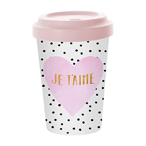 PPD Je T´Aime Bamboo Coffee-To-Go Becher, Kaffeebecher, Pappbecher, Trinkbecher, Bambus-Silikon, Weiß / Pink, Ø 9 cm, 603344