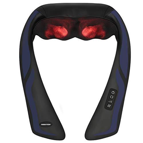 Nackenmassagegerät Shiatsu Massagegerät Nacken Schulter mit Wärmefunktion - Elektrisch Massager mit 3D-Rotation Massage, 3 Einstellbaren Geschwindigkeiten für Hause Büro...