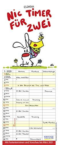 Nic - Timer für zwei 2020: Familienplaner mit 3 breiten Spalten. Familienkalender mit Liebes-Zeichnungen, Ferienterminen, Vorschau bis März 2021 und tollen Extras. 19 x 47 cm.