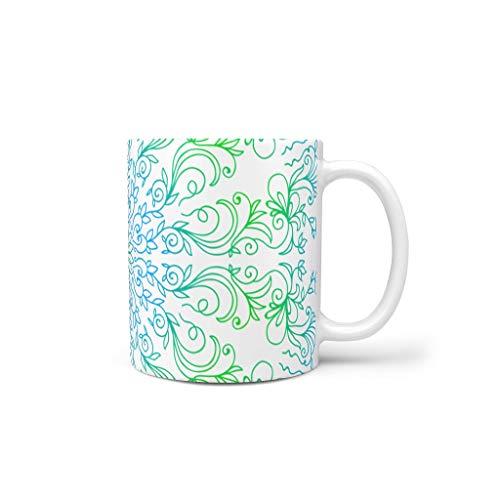 O2ECH-8 11 oz limegroen blauw mandala dranken koffiebeker met handvat hoogwaardige keramiek persoonlijke mokken - heren heden te gebruiken voor de woonkamer