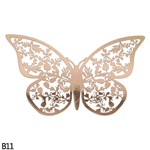 MSIKU Muursticker 12 Stks/Set 3D Holle Vlinders Muurstickers Voor Koelkast Deur Sticker 3 Maten Zilver Rose Goud Thuis Bruiloft Decor Papier Ambachten