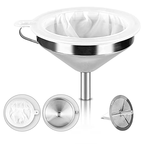 Stainless Steel Funnel 304 Stainless Steel Funnels for kitchen use and 300 Mesh Food Filter Strainer, Funnels for Filling Bottles, Transferring Cooking Oil, Liquid and Powder, Making Jam