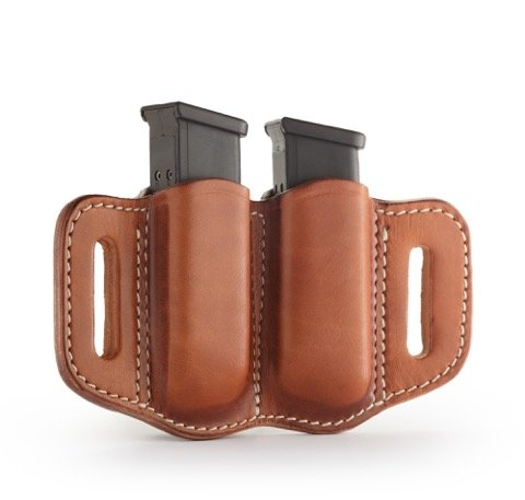 1791 GUNLEATHER 2.2 Mag Holster - Double Mag Pouch for Double Stack Mags, OWB Magazine Pouch for Belts - Classic Brown