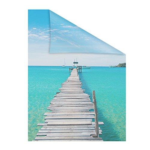 Lichtblick Fensterfolie 50 x 100 cm mit Motiv EL Mar - Blau, Selbstklebender Sichtschutz ohne Bohren, blickdichtes Fensterdekor, für alle Glasflächen