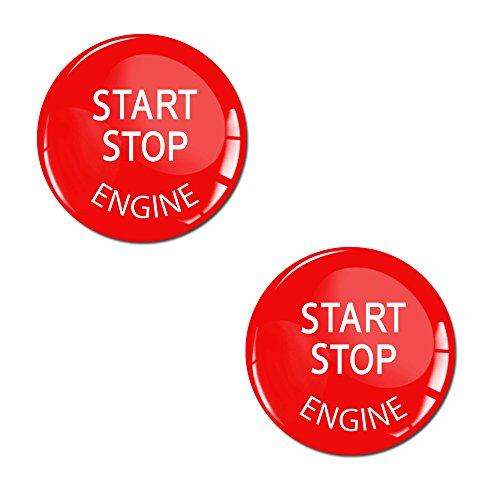 SkinoEu® 2 x Aufkleber 3D Gel Silikon Stickers Start Stop Engine Rot Durchmesse 24mm Zündschlüssel Start Stop Knopf Tuning KS 33