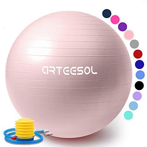 arteesol Gymnastikball 45cm/55cm/65cm/75cm Schwangerschaft Yoga Ball Auti Burst Core Blance Ball mit Schnellpumpe für Pilates Training Fitness Geburt (Rosa-Srub, 55cm)