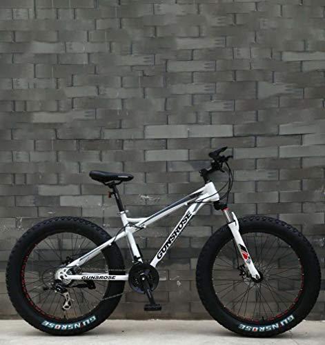 AISHFP Fat Tire Adult Mountainbike, Doppelscheibenbremse/High Carbon Carbon Frame Cruiser Bikes, Strand Schneemobil Fahrrad, 24 Zoll Räder,Weiß,27 Speed