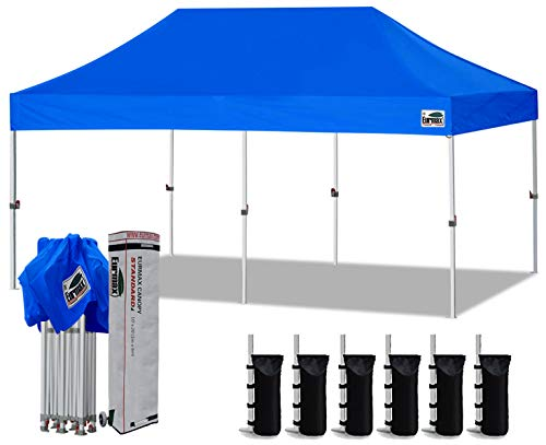 Eurmax 10'x20' Ez Pop Up Canopy Tent Commercial Instant Canopies with Heavy Duty Roller Bag,Bonus 6 Sand Weights Bags (Blue)
