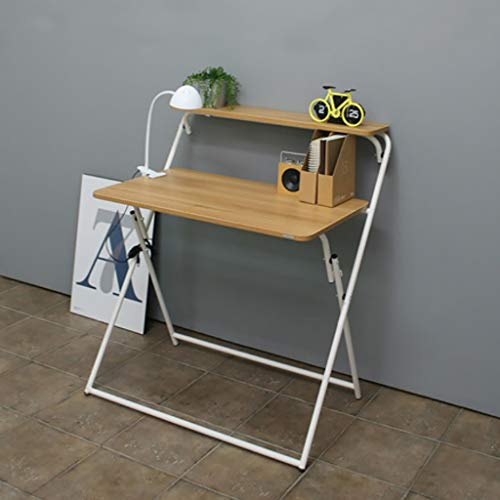 ZfgG Pliant Bambou Pliable Ordinateur Portable Table De Bureau Portable Mini Petite Table Simple Ménage Ordinateur Bureau Bureau D'économie De Bureau (Couleur : White Frame, Taille : A)