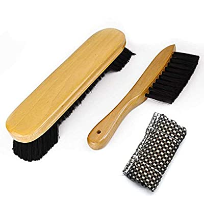 """Cllayees 9"""" Wooden Billiards Pool Table and Rail Brush Set with Cue Shaft Cloth Slicker Cleaner"""