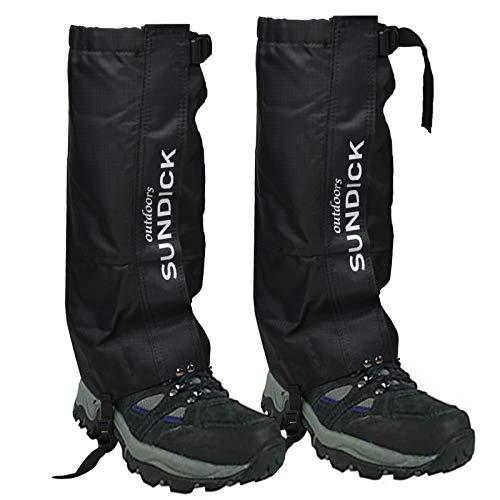 Tentock 1 Par de Polainas de Montañismo a Prueba de Nieve - Polainas para Botas de Caminar Transpirables para Cámping Caminar (Negro)