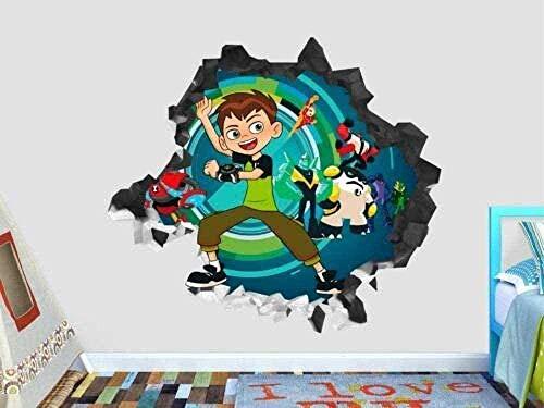 SHUBING Autocollant mural 3D Stickers muraux pull à manches longues autocollant mural Ben 10 Actions autocollant mural pour enfants décoration Smash 3D autocollant Art vinyle