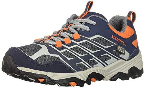 Merrell Unisex-Kid's Moab FST Low WTRPF Hiking Shoe, Navy/Grey/Orange, 1 W US Little Kid