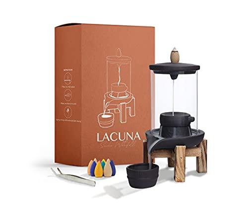 Lacuna Rückfluss Räuchergefäß, Halter Set für Räucherkegel, Incense Burner Wasserfall Ideal als Home Deko, Yoga Deko oder Meditation Zubehör