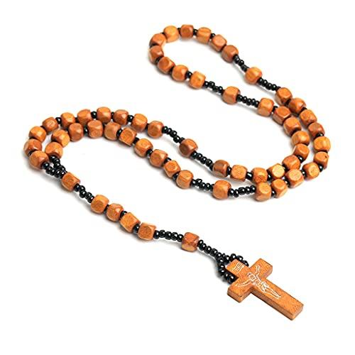 KerDejar Cruz hecha a mano del collar del rosario de los granos de madera, collares colgantes para los hombres mujeres regalo color madera