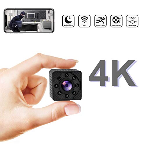 4K Ultra HD Mini Wireless Hidden Camera, Rechargeable Spy Camera Support Night Vision, Video Record and Motion Detection, Indoor Covert Security Camera for Home and Office, Small Nanny Cam