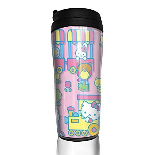 Hello Kitty Cartoon Anime Cute Cat Coffee Cup Hombres Mujeres Aislamiento Agua Copa Viajes Oficina Obras al aire libre Novedad Regalo de cumpleaños 12 oz Capacidad