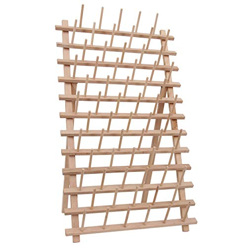 Threadart 66 Large Spool Cone Wood Thread Rack   Made of Hardwood, Sturdy, Freestanding or Wall Mount   Perfect for Large King Size Cones   For Sewing, Embroidery, Quilting, & Specialty Thread Storage