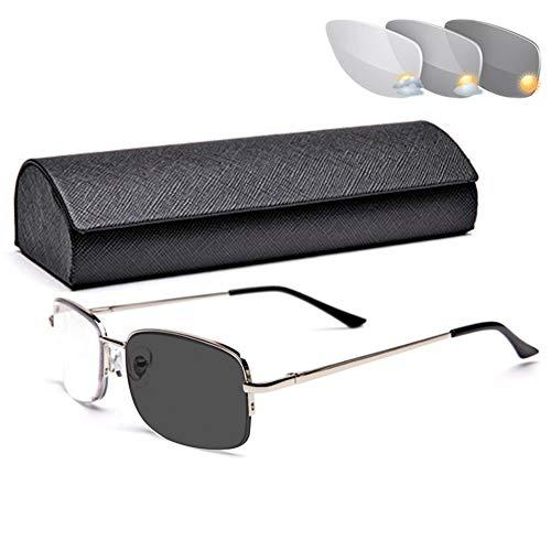 VOCD leesbril voor mannen en vrouwen Intelligente automatische zoom-kleurverschuiving Progressive Multifocus Presbyopiebril met dubbel doel - metalen halmontuur