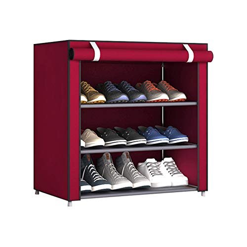 fuguzhu Zapatero, con Cubierta De Tela 3 Niveles Organizador Zapatos EstanteríA, Armario para Guardar Zapatos, Organizador para Zapatos con Capacidad para 9 Pares De Zapatos, 60x30x55 Cm (Granate)