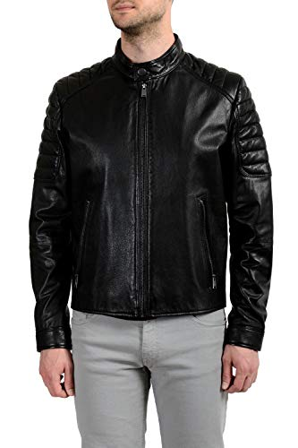 "Hugo Boss""Galini"" Men's 100% Leather Black Full Zip Jacket Sz US 2XL IT 56"