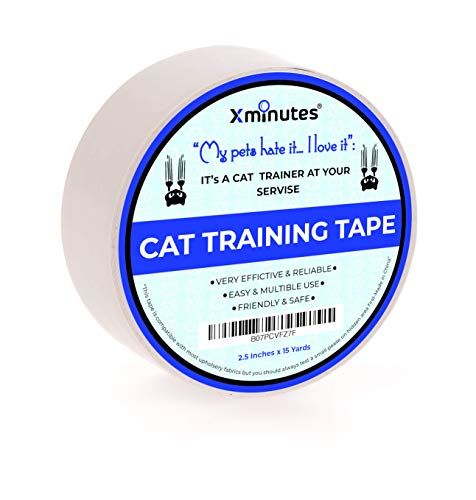 XMinutes Premium Quality Anti - Scratch Cat Training Tape | 2.5 Inches x 15 Yards | Pet Scratch Deterrent Tape | Furniture, Leather, Couch, Door Protector | Clear Double Sided Transparent Sticky Tape