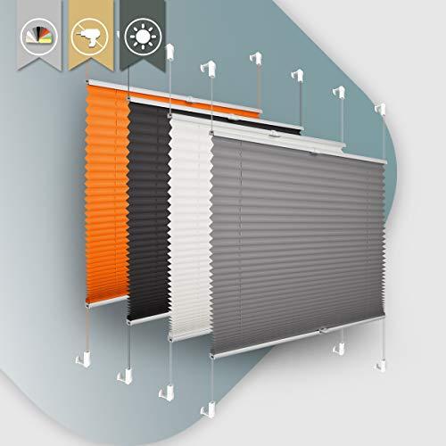 Plisseerollo ohne Bohren klemmfix Jalousie Sonnenschutz Easyfix Faltrollo Lichtdurchlässig Rollo für Fenster & Tür Anthrazit 85x100cm(BXH)