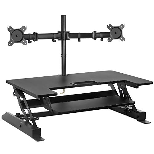 Mount-It! Standing Desk Converter with Bonus Dual Monitor Mount Included - Height Adjustable Stand Up Desk - Wide 36 Inch Sit Stand Workstation with Gas Spring Lift– Black (MI-7934)