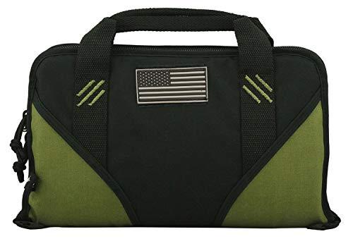 K-Cliffs Pistol Case Lockable Memory Foam Hand Gun Storage Pouch Carrying Bag | 6 Magazine Pockets Black/Olive