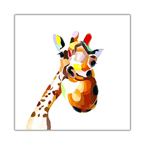 Canvas Schilderijen Kleurrijke Happy Giraffe Canvas Print Animal Wall Art Pictures Modern Home Decor 30x30cm (11.8x11.8 inch) Geen Frame