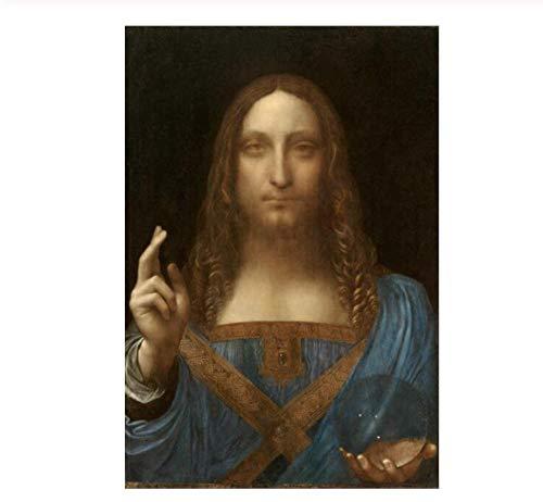 NIUYHFU Salvator Mundi Famoso Arte de la Pared Pinturas de Lona de Leonardo Da Vinci reproducción lienzos Decorativos para Sala de Pared