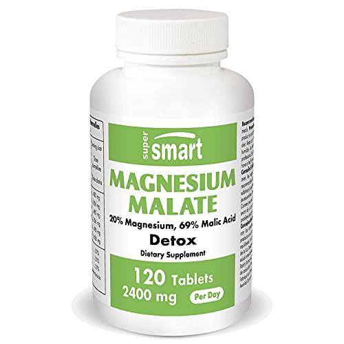 Supersmart - Magnesium Malate 800 mg - 20% Magnésium et 69% Acide Malique - Participe au Maintien de la Santé des Os, des Dents et des Muscles | Sans OGM - 120 Comprimés
