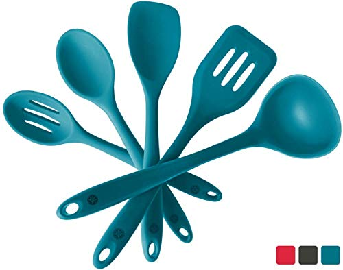 StarPack Basics Silicone Kitchen Utensil Set (5 Piece Set, 10.5') - High Heat Resistant to 480°F, Hygienic One Piece Design Spatulas, Serving and Mixing Spoons (Teal Blue)