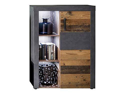 Newfurn dressoir dressoir industriële dressoir highboard multifunctionele kast II 87x118x 34 cm (BxHxD) II [Nanuk. Five] in grafiet grijs Matera-Old Wood / Old Wood woonkamer slaapkamer eetkamer