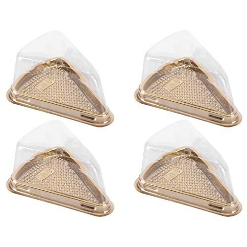 Ladieshow - Caja de embalaje de plástico de 100 piezas, contenedor triangular para tartas con ranuras antideslizantes para repostería, pastelería, postre(Oro)